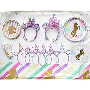 18pcs Glitter Rainbow Unicorn Headband for Unicorn Theme Birthday Party Supplies Favors, Gifts, Baby Shower, Halloween, Christmas, Cosplay Costumes, Photo Props