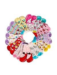 Hip Mall Calcetines para bebé, antideslizantes Stretch de punto tobillo de algodón Grip Walkers calcetines para 12-36 meses bebés niños niñas (12 pares)
