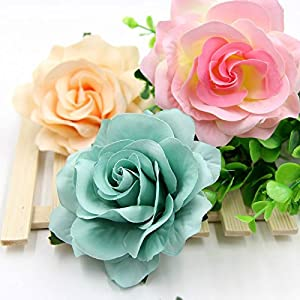 10PCS 9CM Decorative Artificial rose Flower Heads For Wedding Party Decoration DIY Wreath Gift Box Scrapbooking Craft Fake Flowers (tiffany blue) 3