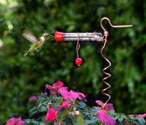 Flower Pot Tube Hummingbird Feeder