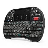 (New arrival 2018) Rii i8X 2.4GHz Mini Wireless Keyboard with Touchpad Mouse Combo, LED Backlit, Rechargable Li-ion Battery-Black