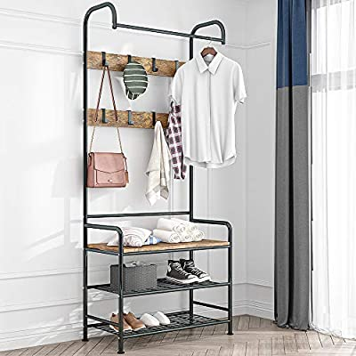 LENTIA Entryway Hall Tree Coat Rack Shoe Bench 3 in 1 Design Storage Shelf Organizer - Multi-Functional: The LENTIA entryway hall tree combined with coat rack and shoe rack bench, which is definitely an ideal solution for entryway or bedroom. The metal rack features 8 hooks to hold jackets, backpacks, bags, hats, umbrellas, scarves and more. The 3-Tier shoe rack bench are ideal for keeping shoes and boots neat organized. Stable and safe: Made of solid metal frame and smooth MDF board Shoe Bench. Come with Anti-tip device for stability and safety. Please feel free to purchase and use. No tipping injuries. Excellent Design: This rack features a smooth surface, and extra bottom shelf, provides multiple uses for your living space. The shoe bench has a weight capacity of 220 lbs, so you can place backpacks or storage boxes on the top of bench, even you can sit on top of the bench while putting on or taking off shoes. - hall-trees, entryway-furniture-decor, entryway-laundry-room - 51sU2Gfi8WL. SS400  -