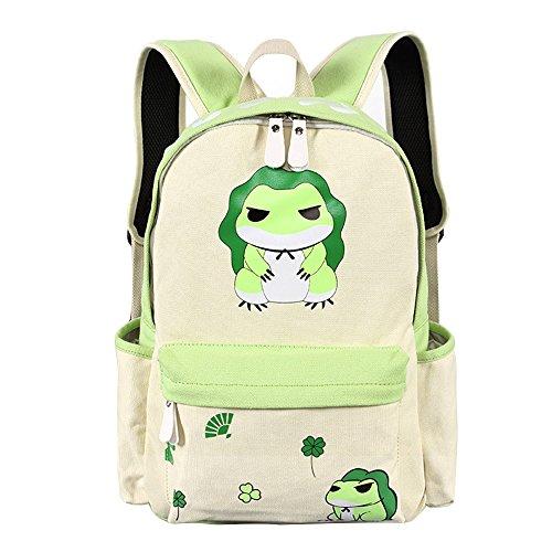 - Canvas Backpack Vintage Anime Casual Bookbag Bunny Bag for Teen Girls Boys (Frog)