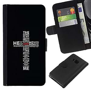KLONGSHOP // Tirón de la caja Cartera de cuero con ranuras para tarjetas - CRUZ DEL SEÑOR ES MI SHEPPARD - HTC One M9 //
