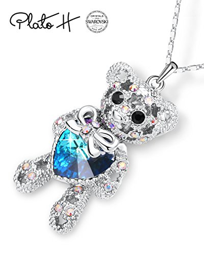 PLATO H Swarovski Element Bear Necklace Teddy Bear Pendant Neckalce Love Heart Bear Charm Pendant Necklace, Ocean Blue Heart Birthday Birthstone Gifts for Women, Bear Crystal Necklace