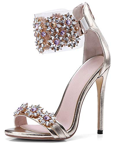 Women's Gold High Heels Sandals Rhinestone Ankle Strappy Clear Heels Dress Party Pumps Shoes Gold Sise 7.5