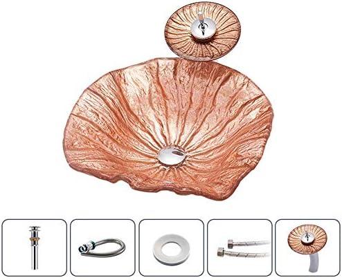 洗面化粧台シンク バスルームコーラル芸術の上カウンター容器シンククローム蛇口コンボ、ポップアップシンクドレイン 和風 洋風 お洒落な 節水 節約 (Color : Coral, Size : 49x44x14cm)