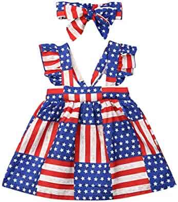 605a41159 Kids Toddler Baby Girls 4th of July Dress Outfits American Flag Ruffle  Strap Tutu Skirt Dresses
