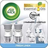 Air Wick Plug in Scented Oil Starter Kit, 2 Warmers + 6 Refills, Fresh...