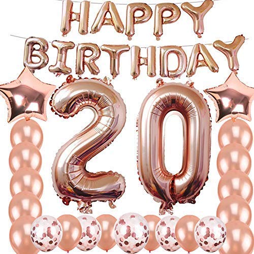 20th Birthday Decorations Party Supplies, Jumbo Rose Gold Foil Balloons for Birthday Party Supplies,Anniversary Events Decorations and Graduation Decorations Sweet 20 Party,20th Anniversary