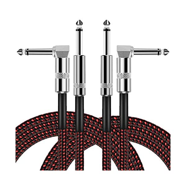 OTraki 10ft Guitar Cable 6.35mm 1/4″ 2 Pack Noiseless Instrument Cables L Shaped 90 Degrees Jack Straight to Right Angle 3 Meter Instrument Lead with Tweed Woven for Electric or Acoustic Guitar