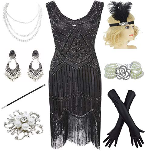 1920s Gatsby Sequin Fringed Paisley Flapper Dress with 20s Accessories Set (XXL, Black)]()