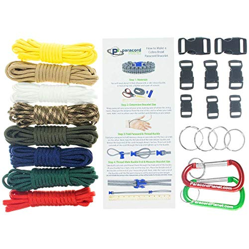 (Paracord Survival Bracelet & Project Kit - 550 Parachute Cord, Buckles, Carabiners, Key Rings - (Starter & Hardware Kits Include Paracord Needle & Forceps) - Made in USA)