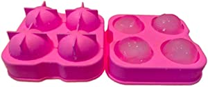 KAIDEE Whisky Ice ball Mold Cube trays Maker Round For freezer reusable scotch circular big cake cocktails with lids cubes souper Spheres Balls sphere Silicone bourbon square large lids giant PINK