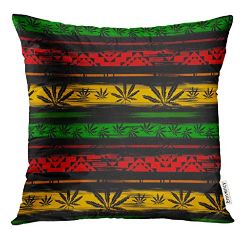 (Golee Throw Pillow Cover Green Jamaica Abstract from Marijuana Cannabis on Rastafarian Colors Jamaican Reggae Decorative Pillow Case Home Decor Square 18x18 Inches)