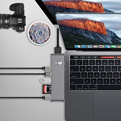 USB 3.0 Ports Audio//Mic Port for MacBook VGA 4K HDMI 1000M RJ45 Ethernet Latest Gen Card Reader Chromebook Surface Book OmniMaster 10 in 1 USB C Hub with PD /& Dual Displays Capability