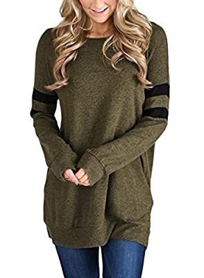 Dokotoo Womens Lightweight Color Block Long Sleeve Sweatshirt Tunic Tops