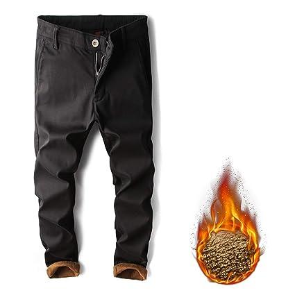 Jeans de hombre Pantalones vaqueros forrados con vellón para ...