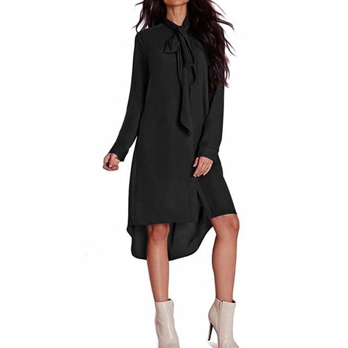 Estilo de las mujeres vestido de pajarita flojo ocasional vestidos de gasa de manga larga mujeres