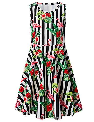 Leapparel White Ruffles Skirts for Kindergarten Girls 6 Years Old Kids Lovely Tunic Dress Animal Red Flamingo Print for Girls 7T -