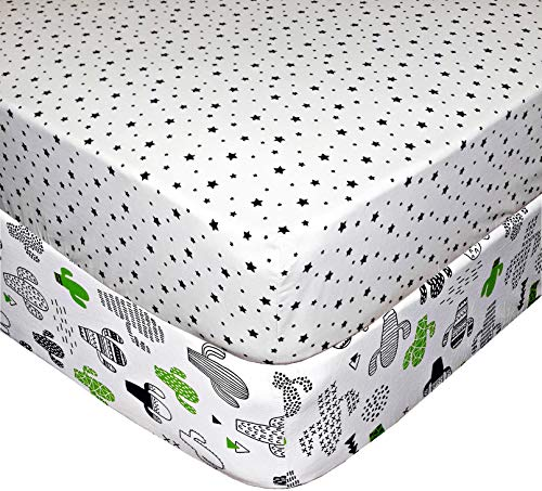 Handywa - 100% Cotton Fitted Sheets - Green Cactus & Black Stars on White - Soft, Breathable, Hypoallergenic - for 28