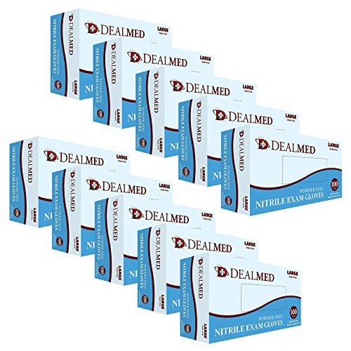 Nitrile Exam Gloves - 1,000 Count, High Strength, Large, Blue, Textured Fingertip, Medical Grade, Food Safe, Powder Free - Dealmed Brand by Dealmed