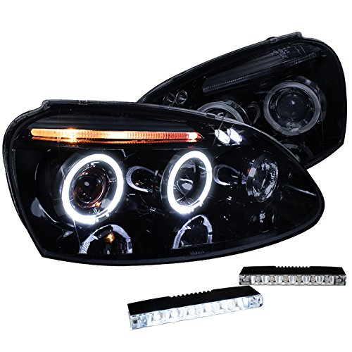 Black Halo Projector Headlight+6-Led Fog Lamp Drl (Jetta Halo Projector Headlights)
