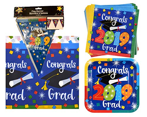 (2019 Graduation Party Supply Pack for 24 Guests - Bundle Includes Paper Plates & Napkins, Plastic Table Cover and Flag Banner in a Confetti)