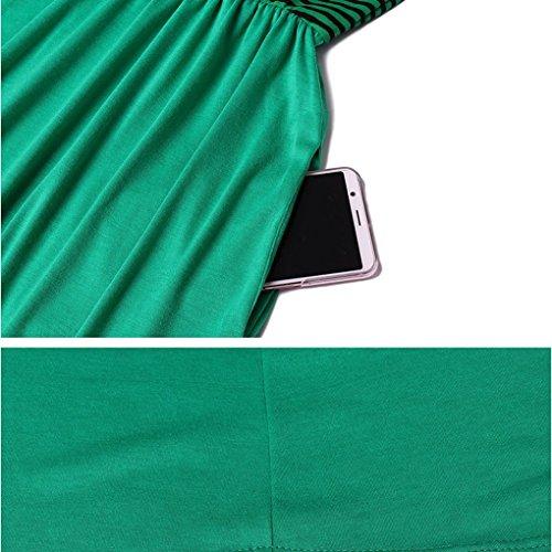 Dress Maxi Summer Splicing Banda O Poliestere Delle Maniche collo Senza Donne Ragazza Providethebest Tasche Verde Ow0n8Pk