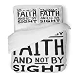 SanChic Duvet Cover Set Beliefs We Walk Faith Not Sight Design Retro Christian Scripture Bible Verse Believe Decorative Bedding Set 2 Pillow Shams King Size