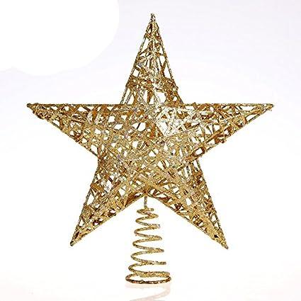 Ids Home 11 8 Inch 30cm Elegant Gold Glitter Sparkle Swirl Christmas Tree Topper Star Ornaments Decoration