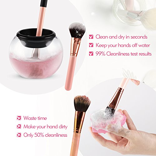 Smartdoo Makeup Brush Cleaner Kit in Seconds to Clean Makeup Brushes and Dry in 360 Rotation with 8 Rubber Collars for All Makeup Brushes Cleaning