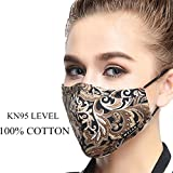 ZWZCYZ Masks Dust Mask Anti Pollution Mask PM2.5 4 Layer Activated Carbon Filter Insert Can Be Washed Reusable Masks Cotton Mouth Mask for Men Women (Medium(Women's), Coffee Flower)