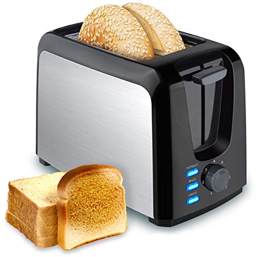 2 Slice Toasters Bread Stainless Steel Compact Toaster Extra Wide Slots for Household Kitchen Breakfast BAGEL DEFROST CANCEL Function Upgrade Toaster Muffins, Waffles and Bread(Black)