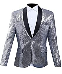 Men Sequin One Button Silver M Jacket