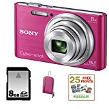 SONY Cyber-shot DSC-W730 Compact Zoom Digital Camera in Pink + 8GB Secure Digital Memory Card + Sony Case in Pink + 25 Free Quality Photo Prints