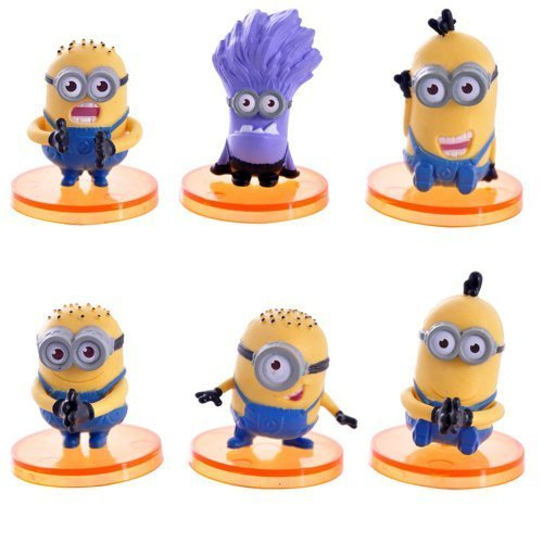 """Despicable Me 2 The Minions Role Figure Display Toy PVC 6Pcs Set 4cm/1.6"""" Tall"""