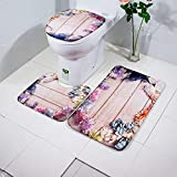 Modern and Simple Art Carpet Printed Area Rugs Slip-Resistance Toilet Mat Three-Piece Sets Absorbent Indoor Decoration U-Shaped Toilet Mat (Garland Plank)