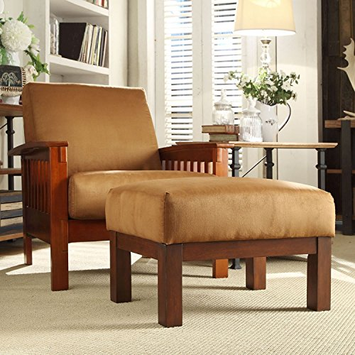 HOME Hills Mission-style Oak/ Rust Chair and Ottoman ()