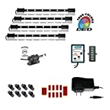 Cyron RGB True LED Multicolor Home TV Accent Lighting Kit Video Production Light, Under Cabinet Counter Lighting, Multi-Functional Controller, 360 Degrees Rotatable, ETL Listed, 4x 9'' LED Bars
