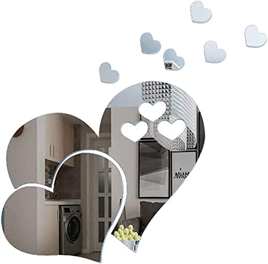 Itta 3 Set 15pcs 3d Acrylic Love Heart Mirror Wall Stickers Removable Heart Art Decor Wall Poster Living Room Wedding Room Home Decoration Silver Amazon Ca Home Kitchen