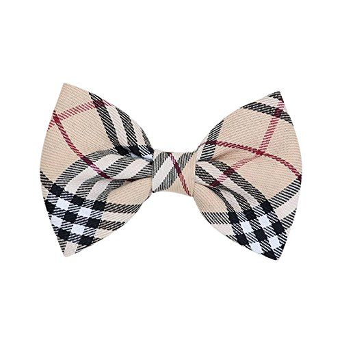 THE DOK Brown Plaid - Dog Cat Pet Bow Tie Bowtie Collar Accessory 4 inch