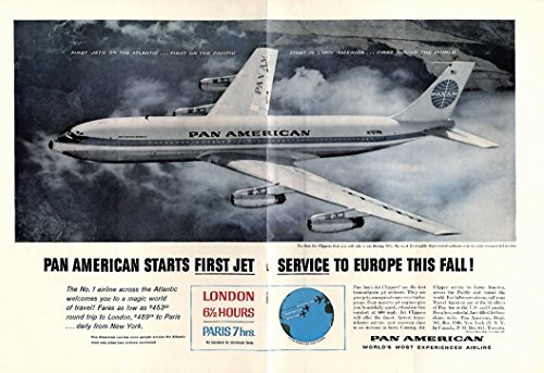 Pan American 707 - First Jet Service to Europe This Fall! Pan American Boeinbg 707 ad 1958 NY