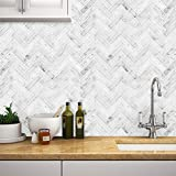 STICKGOO Peel and Stick Tile Backsplash, Sky Marble Herringbone Adhesive Backsplash Tiles, Stick on Tiles for Kitchen & Bathroom