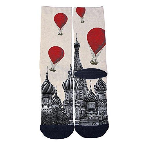 EveninSky Men's Women's Custom Romantic Church and Hot Air Balloon Socks Creative Casual Crew Socks Black by EveninSky