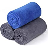 Microfiber Towels Car Drying Wash Towels, Power Tiger Scratch Free Large Car Cleaning Towels Ultra Soft Super Absorbent Auto Detailing Towels 400gsm 27Inch x 12Inch 3 Pack Blue/Grey