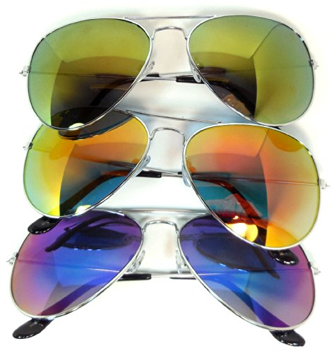 3 pairs Classic Aviator Sunglasses Full Mirror Lens (03 pairs-red-blue-yellow) - Dozen The By Sunglasses