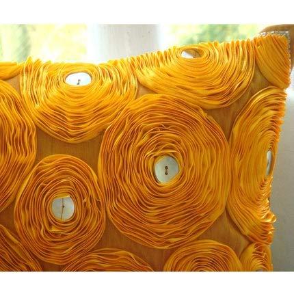 Designer Orange Pillows Cover, Ribbon Marigold Flower Floral Theme Pillows Cover, 16