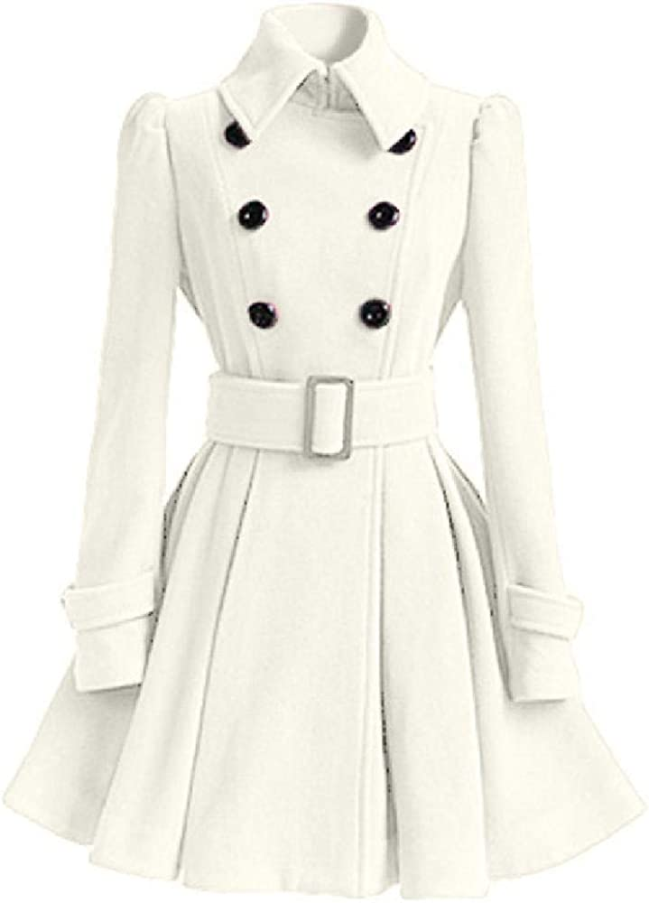 Otoño Invierno Abrigo Plisado Cruzado con Doble Botonadura Mujer Elegante Largo Cálido Slim Outwear Mujer Gabardinas Streetwear
