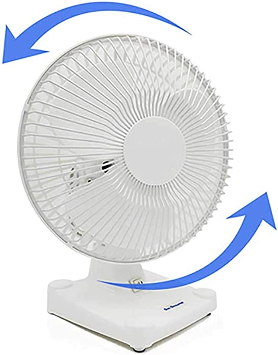 """Energy Efficient Oscillating Quiet & Cooling 2-Speed Desk Table Fan W/Adjustable Air Circulation (8"""" Desk Fan), White-Total 360° Air Oval Circulation Perfect for Home Office Dorm Travel Indoor Outdoor"""